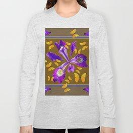 YELLOW & PURPLE BUTTERFLIES PURPLE IRIS PUCE Long Sleeve T-shirt