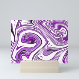Purple and White Swirls Abstract Digital Painting Mini Art Print