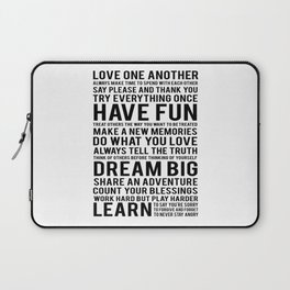 """Inspirational Quote """"Family Rules"""" Subway Stlye Family Typography Nursery Print Motivational Quote Laptop Sleeve"""