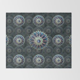Mosaic flower, blue turquoise Throw Blanket