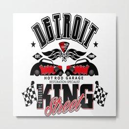 Detroit Hot Rod Motor Garage Metal Print