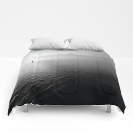 black and whit sail water Comforters