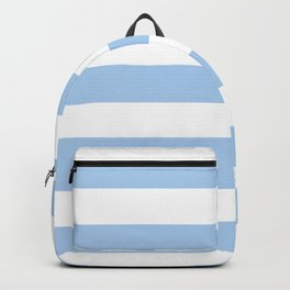Pale cornflower blue - solid color - white stripes pattern Backpack