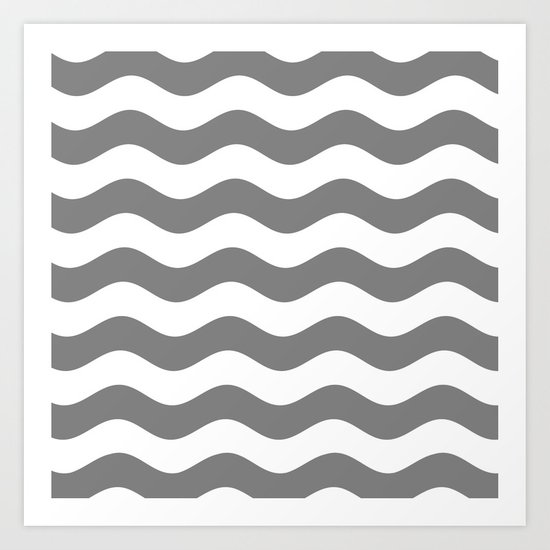 Wavy Stripes (Gray/White) Art Print