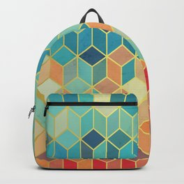 Colorful Squares with Gold - Friendly Colors and Marble Texture Backpack