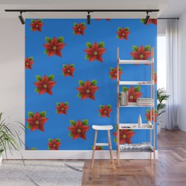 Red Flowers Pattern Wall Mural