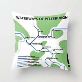 Waterways of Pittsburgh Throw Pillow
