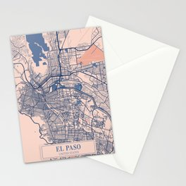 EL Paso - United States Breezy City Map Stationery Cards