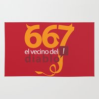 diablo Area & Throw Rugs featuring El Vecino del Diablo by Andre Mortari