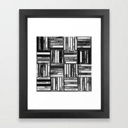 Music Cassette Stacks - Black and White - Something Nostalgic IV #decor #society6 #buyart Framed Art Print