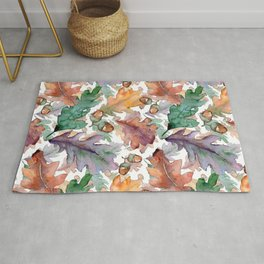 Colorful Watercolor Oak And Acorn Pattern Rug