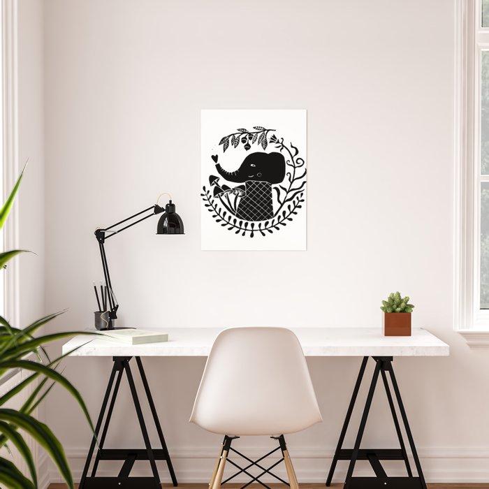 elephant with plants black linoprint illustration Poster