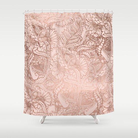 Modern Rose Gold Floral Illustration On Blush Pink Shower