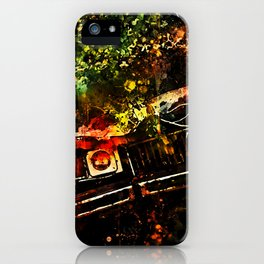 lost place rusty american car wreck splatter watercolor iPhone Case