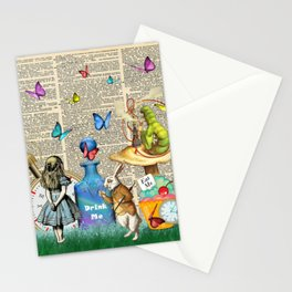 Alice In Wonderland Dictionary Page Celebration Stationery Cards