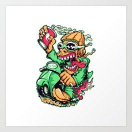GREEN - Scooter Art Print