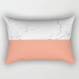 peach marble orange and white marble Rectangular Pillow