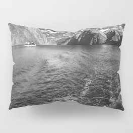 A boat ride in the morning at Milford Sound in black and white Pillow Sham