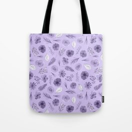 Hand painted violet white watercolor modern floral pattern Tote Bag