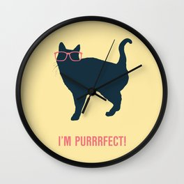 Purrrfect yellow Wall Clock