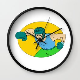 Amateur Boxer Knockout Punch Drawing Wall Clock