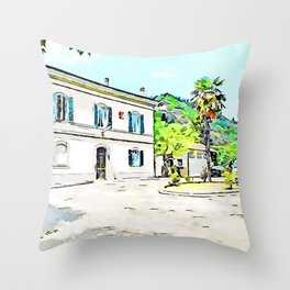 Fognano: square of the railway station with palm tree Throw Pillow