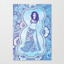 Henna Belly Dancer - blue glitter Canvas Print