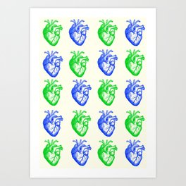 Anatomic hearts print (green and blue) Art Print