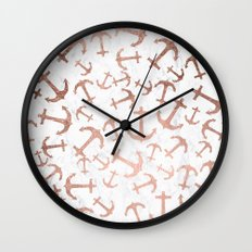 Modern faux rose gold anchors pattern white marble Wall Clock