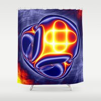 ufo Shower Curtains featuring ufo by donphil