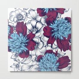 Peony flowers in vintage style Metal Print