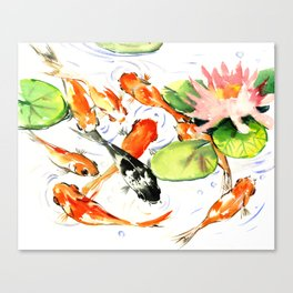Koi Fish Pond, Feng Shui 9 koi fish art Canvas Print