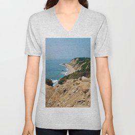 Mohegan Bluffs and Beach - Block Island (New Shoreham) Rhode Island Unisex V-Neck