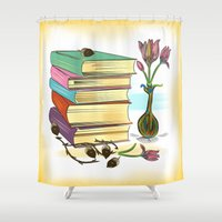 books Shower Curtains featuring Books by famenxt