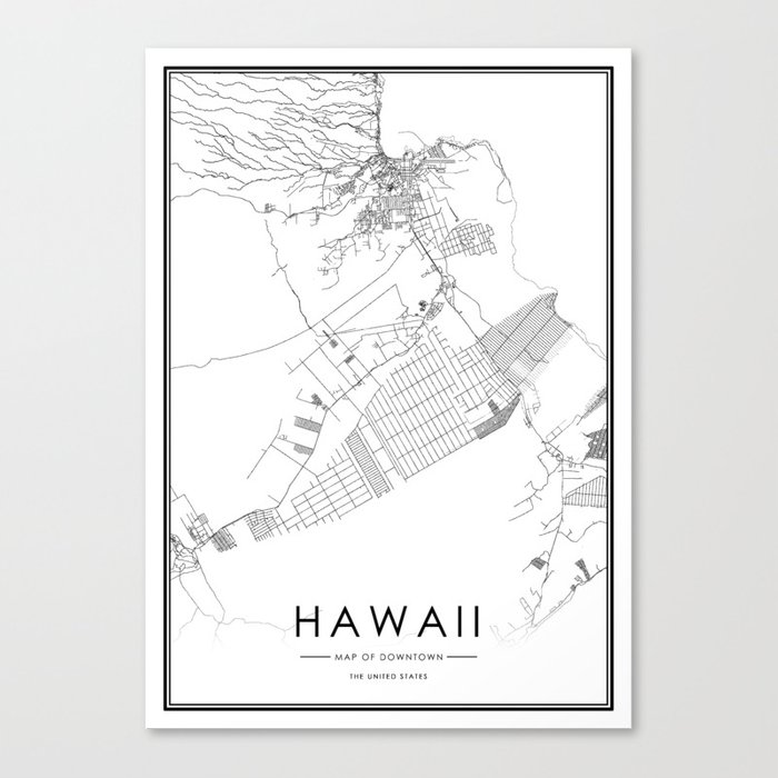 Hawaii City Map United States White and Black Canvas Print by victorialyu
