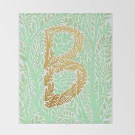 Botanical Metallic Monogram - Letter B Throw Blanket