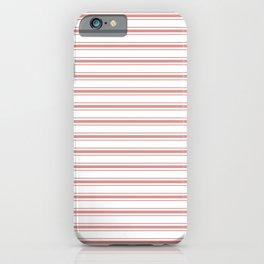 Large Camellia Pink and White Mattress Ticking Stripes iPhone Case