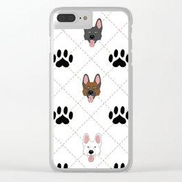 3 German Shepherd Colors Paw Print Pattern Clear iPhone Case