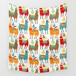 Llamas Colours Wall Tapestry
