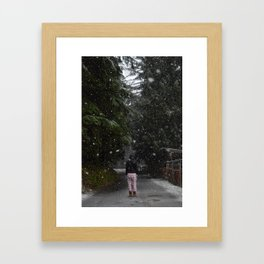 Pajamas in the Snow - Silverdale, Washington State Framed Art Print