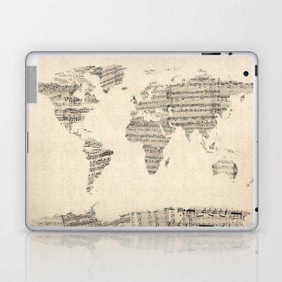 Old Sheet Music World Map Laptop & iPad Skin