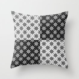 Clover and Blossoms - Color: Black&White Throw Pillow