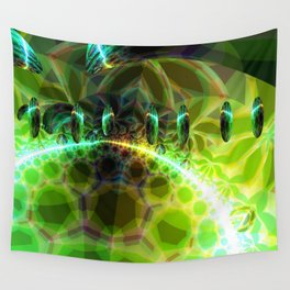 Dawn of Time – Abstract Lime & Gold Emerge Wall Tapestry