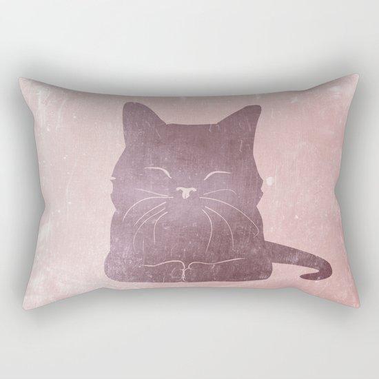 Happy purple cat illustration on pink for girls Rectangular Pillow