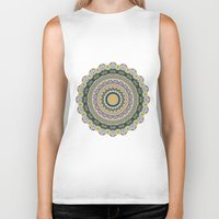 mineral Biker Tanks featuring Boho Patchwork-Mineral Colors by Groovity