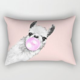 Bubble Gum Black and White Sneaky Llama in Pink Rectangular Pillow
