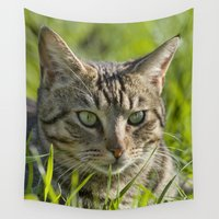 hunting Wall Tapestries featuring Tabby cat hunting outdoors by Michael Howard