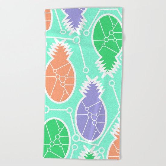 Pineapple network Beach Towel