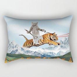 Cat Riding A Tiger Rectangular Pillow