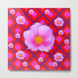 Red Pattern Wild Pink Roses & Pink Roses Abstract Metal Print